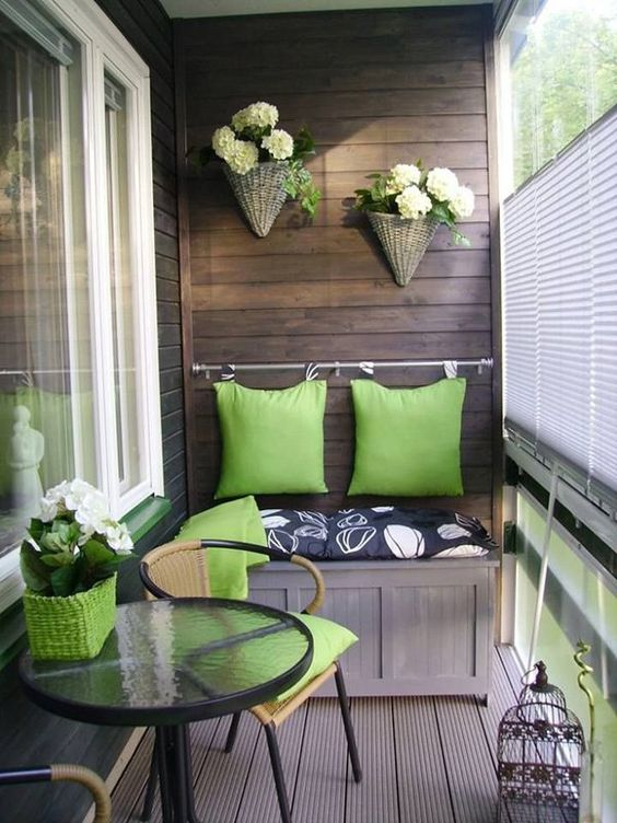 green wooden balcony